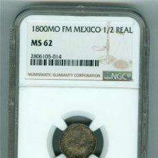 Monedas de España: CARLOS IV. FLOR DE CUÑO. MEDIO 1/2 REAL 1800 MEXICO FM. NGC MS 62. Lote 68018437