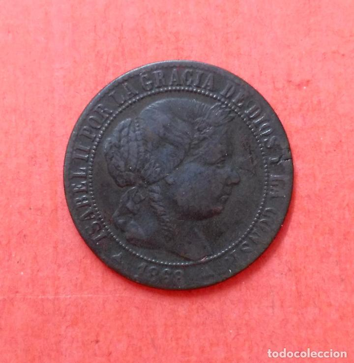 ISABEL II : 1 CENTIMO DE ESCUDO 1868 SEGOVIA (Numismática - España Modernas y Contemporáneas - De Isabel II (1.834) a Alfonso XIII (1.931))