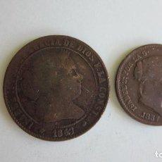 Monedas de España: 2 MONEDAS DE ISABEL II. SEVILLA Y SEGOVIA.. Lote 68224293