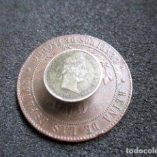 Monedas de España: 2 MONEDAS ISABEL II, MODIFICADAS PARA INSIGNIA DE OJAL. Lote 69470493