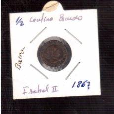 Monedas de España: ISABEL II 1/2 ESCUDO 1867 BARCELONA . Lote 69625933