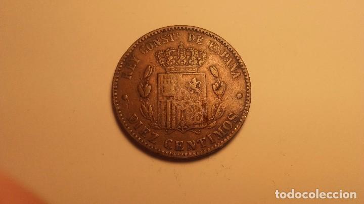 YOLASVENDO RAROS 10 CENTIMOS DE ALFONSO XII SIN OM RARISIMA (Numismática - España Modernas y Contemporáneas - De Isabel II (1.834) a Alfonso XIII (1.931))