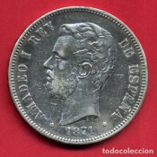 Monedas de España: MONEDA 5 PESETAS 1871 , AMADEO I , ESTRELLAS VISIBLES 18 7 , DURO PLATA , MBC , ORIGINAL, D2140. Lote 112503907