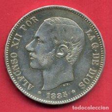 Monedas de España: MONEDA 5 PESETAS 1885 , ALFONSO XII , ESTRELLAS VISIBLES 18 87 , DURO PLATA , MBC+ , ORIGINAL, D2163. Lote 72059023