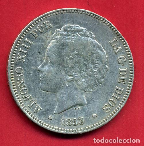 MONEDA 5 PESETAS 1893 PGV , ALFONSO XIII , ESTRELLAS VISIBLES 18 93 ,DURO PLATA , EBC- , D2197 (Numismática - España Modernas y Contemporáneas - De Isabel II (1.834) a Alfonso XIII (1.931))