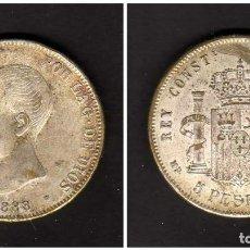 Monedas de España: ESPAÑA - ALFONSO XIII 1888 5 PESETAS - FALSA DE EPOCA - FALSO. Lote 155985266