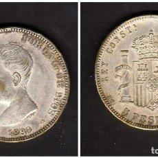 Monedas de España: ESPAÑA - ALFONSO XIII 1890 MPM 5 PESETAS - FALSA DE EPOCA - FALSO. Lote 155985386