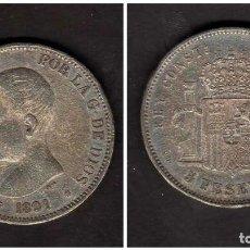 Monedas de España: ESPAÑA - ALFONSO XIII 1891 5 PESETAS - FALSA DE EPOCA - FALSO. Lote 155985001