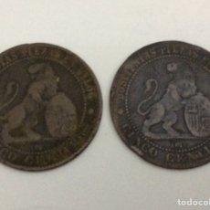 Monedas de España: 2 MONEDAS 5 CÉNTIMOS 1870. Lote 74359043