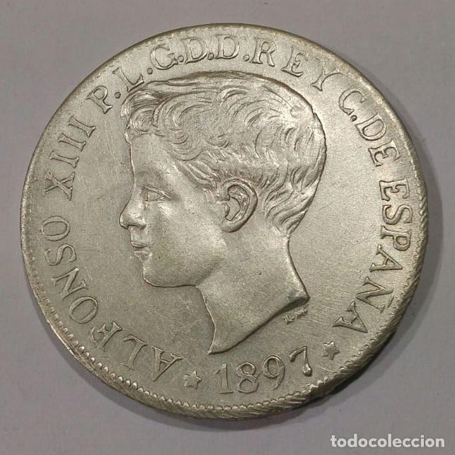 Monedas de España: Moneda Plata 1 PESO España Islas Filipinas SGV 1897 alfonso XIII - Foto 2 - 74623195