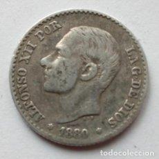 Monedas de España: 50 CENTIMOS DE ALFONSO XII, AÑO 1880, MS M, MONEDA ANTIGUA DE PLATA. Lote 76178759