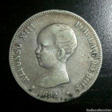 Monedas de España: MONEDA DE 2 PESETAS DE PLATA ALFONSO XIII 1892 *19-92. Lote 76406541