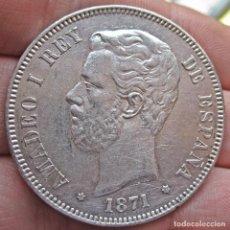 Monedas de España: DURO 5 PESETAS 1871 (*18*75). AMADEO I DE SABOYA. ALFONSO XII. EBC/EBC-. ESCASA ASÍ.. Lote 76779867