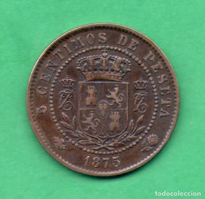 Monedas de España: 5 CENTIMOS CARLOS VII PRETENDIENTE 1875 - Foto 2 - 77599381