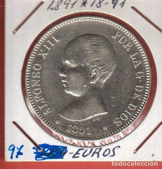 Monedas de España: 5 PESETAS PLATA ALFOSO XIII DE 1891*91 LA DE LA FOTOS VER TODOS MIS LOTES DE MONEDAS - Foto 2 - 78402693