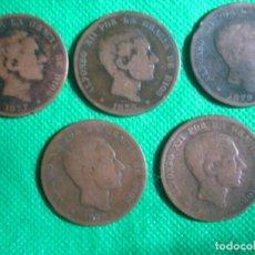 Monedas de España: LOTE DE 5 MONEDAS DE 10 CÉNTIMOS DE ALFONSO XII DE 1877 Y 1878. Lote 79027737