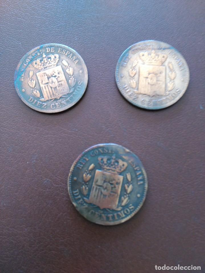 Monedas de España: LOTE 3 MONEDAS 10 CENTIMOS ALFONSO XII. AÑOS 1877, 1878 Y 1879 - Foto 2 - 158860928