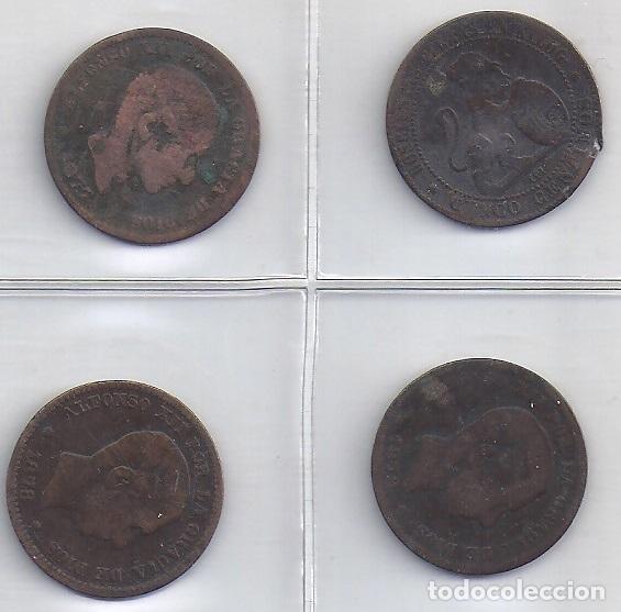 LOTE DE 4 MONEDAS DE 5 CENTIMOS 1870, 1877, 1878 Y 1879 (4P) (Numismática - España Modernas y Contemporáneas - De Isabel II (1.834) a Alfonso XIII (1.931))