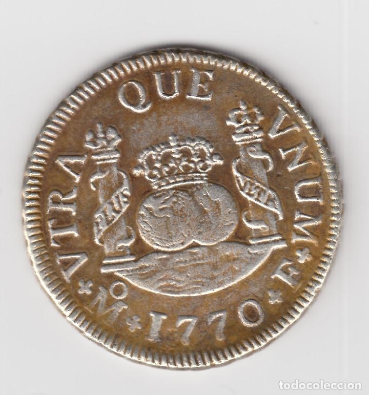 2 REALES PLATA 1770 MEXICO F TIPO COLUMNARIO REY ESPAÑA CARLOS III - RARA (Numismática - España Modernas y Contemporáneas - De Reyes Católicos (1.474) a Fernando VII (1.833))