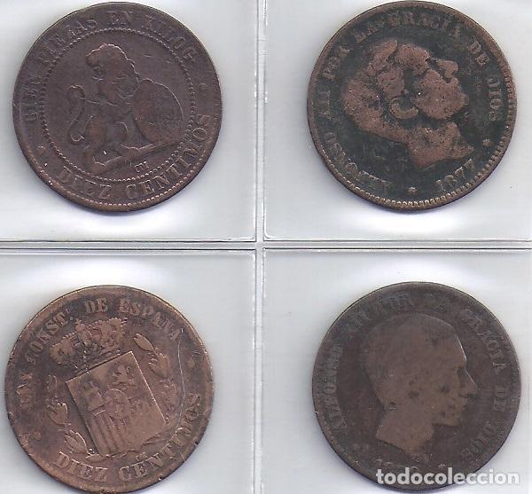LOTE DE 4 MONEDAS COBRE DE 10 CENT AÑOS 1870, 1877, 1878 Y 1879 (4 G) (Numismática - España Modernas y Contemporáneas - De Isabel II (1.834) a Alfonso XIII (1.931))