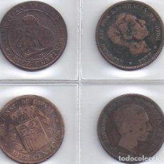 Monedas de España: LOTE DE 4 MONEDAS COBRE DE 10 CENT AÑOS 1870, 1877, 1878 Y 1879 (4 G). Lote 83059220