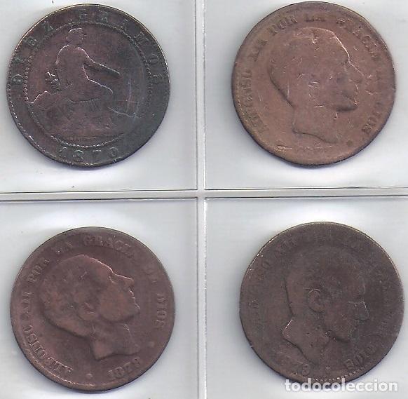 Monedas de España: LOTE DE 4 MONEDAS COBRE DE 10 CENT AÑOS 1870, 1877, 1878 Y 1879 (4 G) - Foto 2 - 83059220
