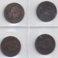 Monedas de España: LOTE DE 4 MONEDAS DE 5 CENT COBRE DE LOS AÑOS 1870, 1877, 1878 Y 1879 (4 P). Lote 83059376