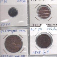 Monedas de España: LOTE DE 4 MONEDAS EN COBRE DE 1, 2 Y10 CENTIMOS DE LA 1ª REPUBLICA Y 5 CENTIMOS DE ALFONSO XII(G1). Lote 83063944