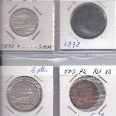 Monedas de España: LOTE 1 Y 2 PESETAS PLATA DE 1870 Y 5 Y 10 CENTIMOS COBRE DE 1878 Y 1877. Lote 83065560