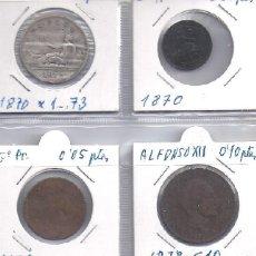 Monedas de España: LOTE DE 4 MONEDAS: UNA 2 PESETAS DE PLATA DE 1870 MAS TRES DE COBRE 1870 Y 1878 (G10). Lote 83066600
