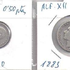 Monedas de España: PAREJA DE MONEDAS DE PLATA: 1 PTA DE 1883 Y 50 CENTIMOS DE 1880 *8 0 (G18). Lote 83069044