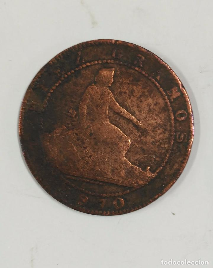MONEDA DE DIEZ GRAMOS DE 1870. CIEN PIEZAS EN KILOGRAMOS. DIEZ CENTIMOS (Numismática - España Modernas y Contemporáneas - De Isabel II (1.834) a Alfonso XIII (1.931))