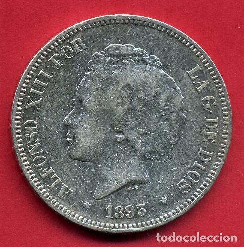 MONEDA 5 PESETAS ALFONSO XIII , 1893 PGV, ESTRELLAS VISIBLES 93 , DURO PLATA , MBC ,ORIGINAL, D2364 (Numismática - España Modernas y Contemporáneas - De Isabel II (1.834) a Alfonso XIII (1.931))