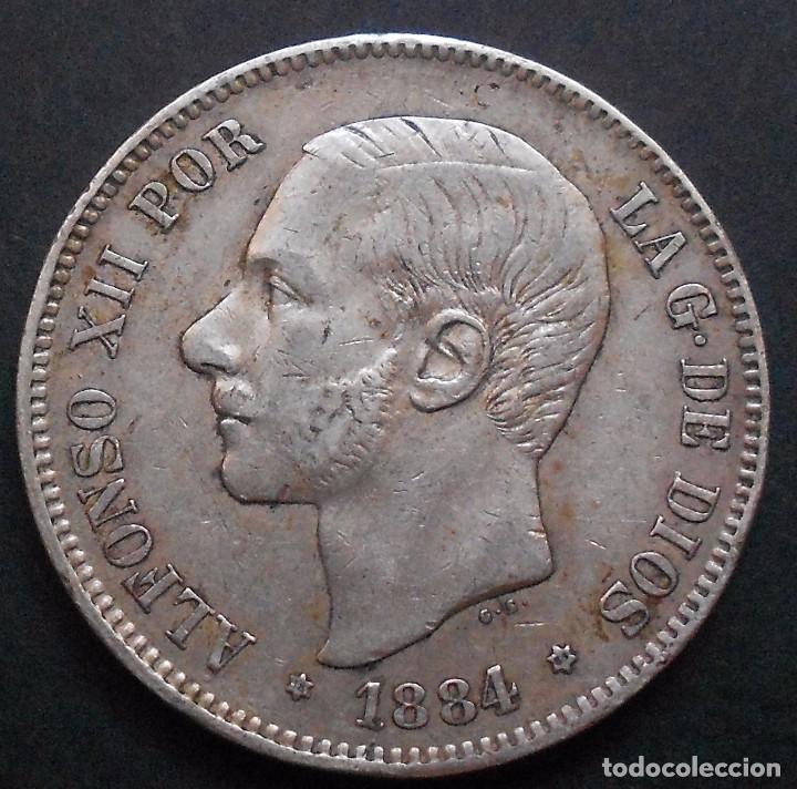 5 PESETAS 1884 *18*-*84* ALFONSO XII REF. 60 -PLATA- (Numismática - España Modernas y Contemporáneas - De Isabel II (1.834) a Alfonso XIII (1.931))