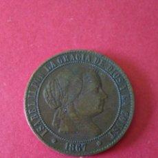 Monedas de España: ISABEL II. 2 1/2 CÉNTIMOS DE ESCUDO. 1867. BARCELONA.. Lote 86949912