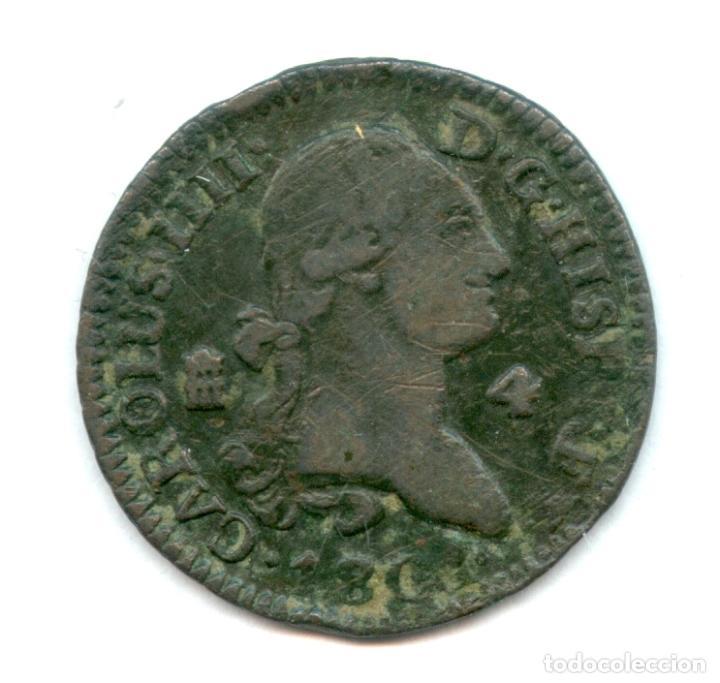 ¡¡ MUY BARATA !! 4 MARAVEDIES CARLOS IIII. FECHA INCOMPLETA AÑO 180. (Numismática - España Modernas y Contemporáneas - De Reyes Católicos (1.474) a Fernando VII (1.833))