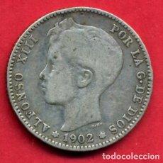 Monedas de España: MONEDA PLATA, ALFONSO XIII , 1 PESETA 1902 , ESTRELLAS NO VISIBLES , MBC , ORIGINAL , B12. Lote 87153968