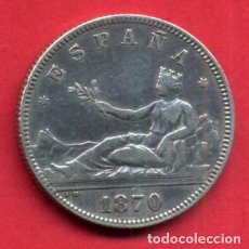 Monedas de España: MONEDA PLATA, 2 PESETAS 1870 , ESTRELLAS VISIBLES 18 74 , MBC+ , ORIGINAL , B12. Lote 112503619