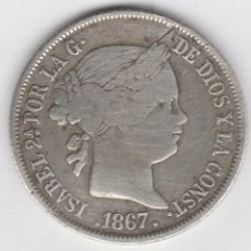 Monedas de España: ISABEL II- 40 CENTIMOS DE ESCUDO-1867-MADRID. Lote 87358136