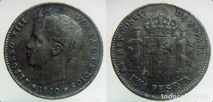 1 PESETA ALFONSO XIII 1900 FALSA DE EPOCA (Numismática - España Modernas y Contemporáneas - De Isabel II (1.834) a Alfonso XIII (1.931))