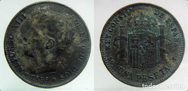 1 PESETA ALFONSO XIII 1899 FALSA DE EPOCA (Numismática - España Modernas y Contemporáneas - De Isabel II (1.834) a Alfonso XIII (1.931))