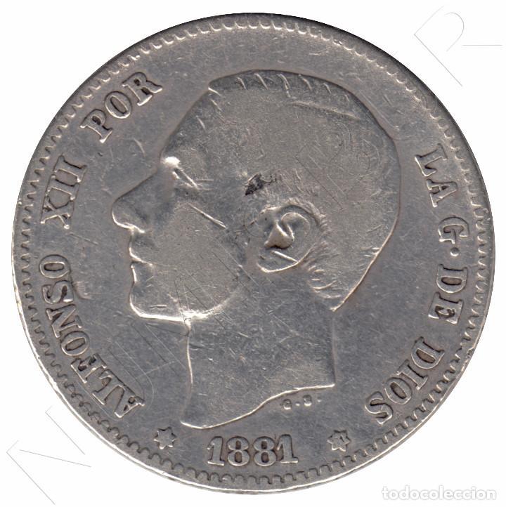 ESPAÑA 1 PESETA PLATA 1881 *81* REY ALFONSO XII - FECHA MUY ESCASA (Numismática - España Modernas y Contemporáneas - De Isabel II (1.834) a Alfonso XIII (1.931))