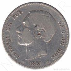 Monedas de España: ESPAÑA 1 PESETA PLATA 1881 *81* REY ALFONSO XII - FECHA MUY ESCASA. Lote 90855875