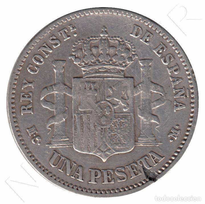 Monedas de España: ESPAÑA 1 peseta plata 1881 *81* Rey Alfonso XII - fecha muy escasa - Foto 2 - 90855875