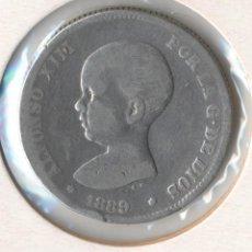 Monedas de España: ALFONSO XIII 2 PESETAS AÑO: 1889 ENSAYADORES: MPM CECA: MADRID CONSERVACION: BC. Lote 91695655