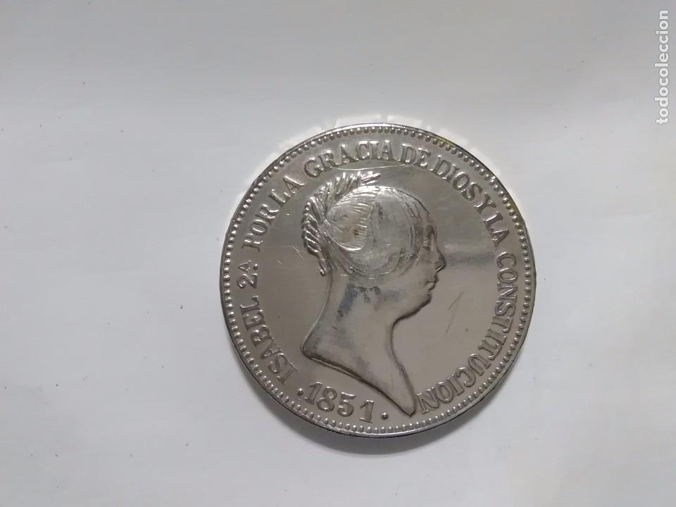 REPRODUCCION MONEDA DE ISABEL II DE 20 REALES 1851 (Numismática - España Modernas y Contemporáneas - De Isabel II (1.834) a Alfonso XIII (1.931))