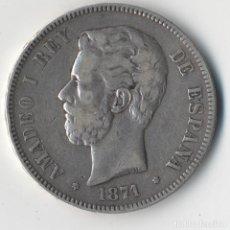 Monedas de España: MONEDA 5 PESETAS AMADEO I, 1871 ,ESTRELLAS VISIBLES 18 71 ,DURO PLATA, MBC++ ,ORIGINAL. Lote 91779215