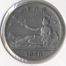 Monedas de España: GOBIERNO PROVISIONAL 2 PESETAS AÑO: 1870 ESTRELLAS: 18-74 ENSAYADORES: SNM (MBC+). Lote 91984760