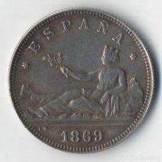 Monedas de España: ESPAÑA: 2 PESETAS PLATA 1869 SN.M. ESTRELLAS VISIBLES *18*69* PRIMERA REPUBLICA EBC BONITOS 8,6GRS. Lote 92011625