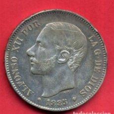 Monedas de España: MONEDA 5 PESETAS ALFONSO XII , 1885 , ESTRELLAS VISIBLES 18 87 , DURO PLATA , MBC+ , ORIGINAL, D2431. Lote 92132895